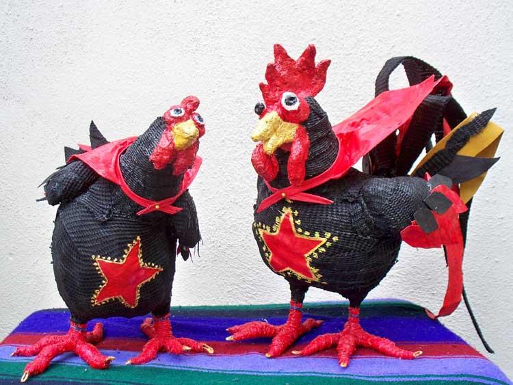 Rose Almere's paper mache chickens
