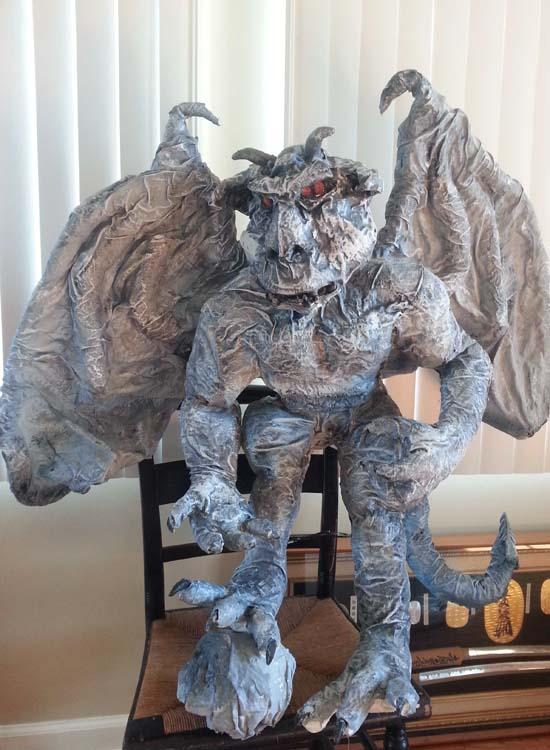 sean moser's paper mache gargoyle2