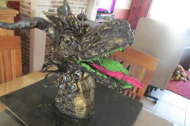 Siebe Vu's paper mache dragon trophy