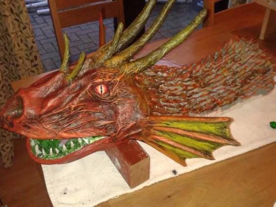 steve's paper mache dragon
