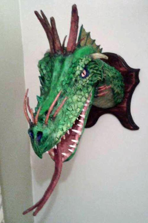 steve's second paper mache dragon tropohy