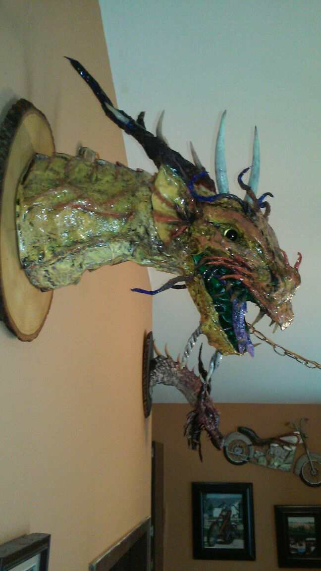 Andy's first paper mache dragon tropies