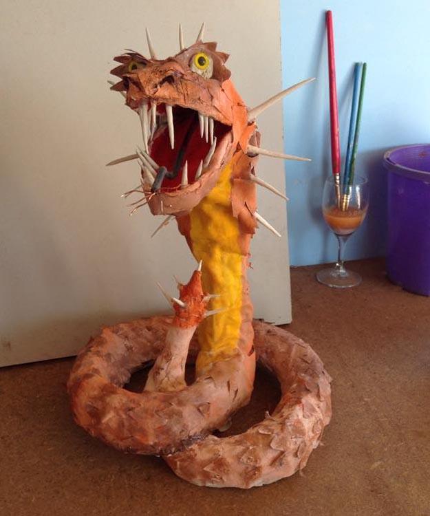Annie Joy's paper mache snake