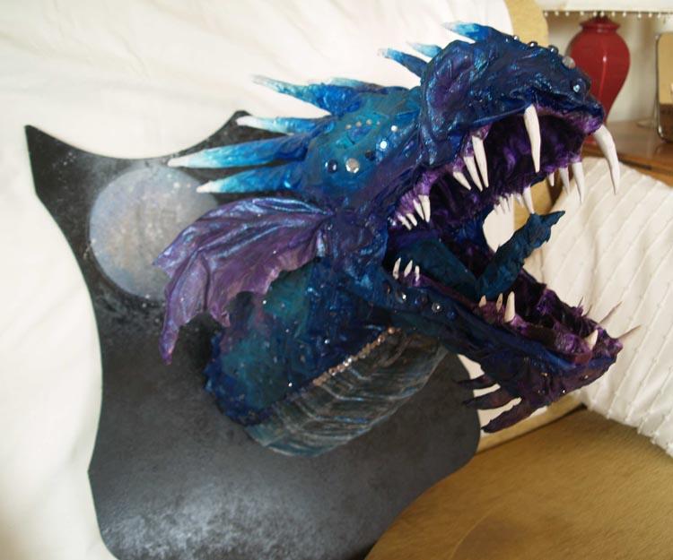 Arnie's paper mache dragon trophy