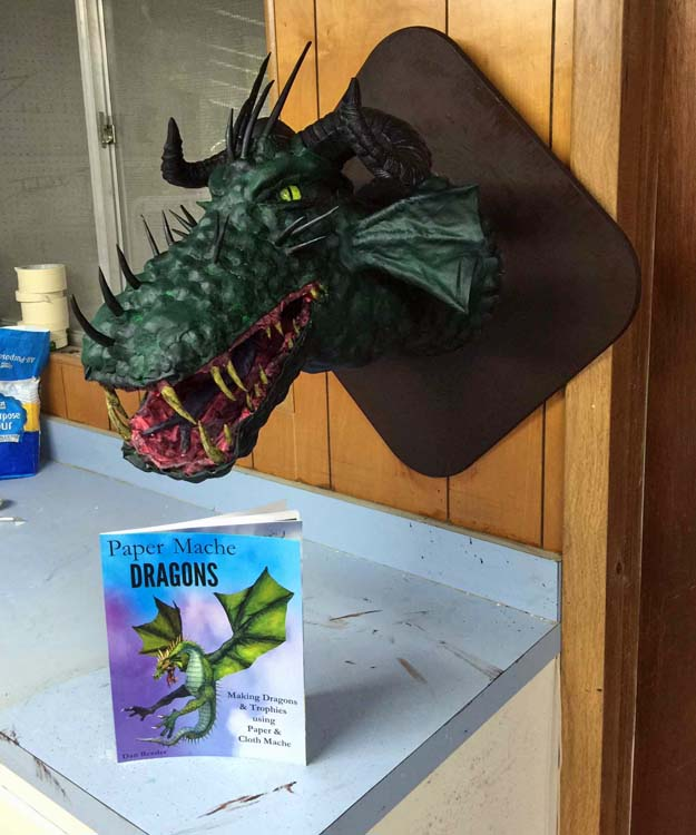 Chris D and Todd C's paper mache dragon trophy