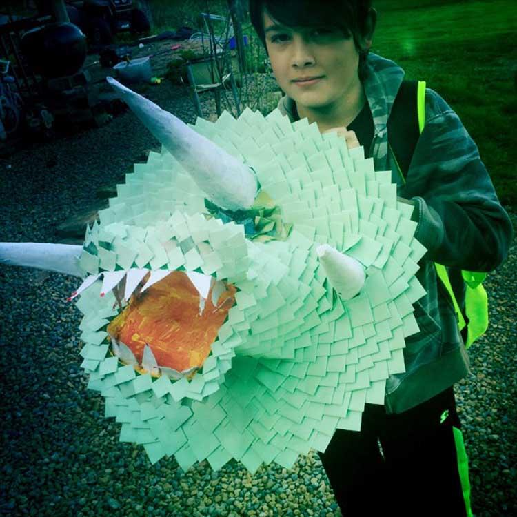 Jasper's paper mache project
