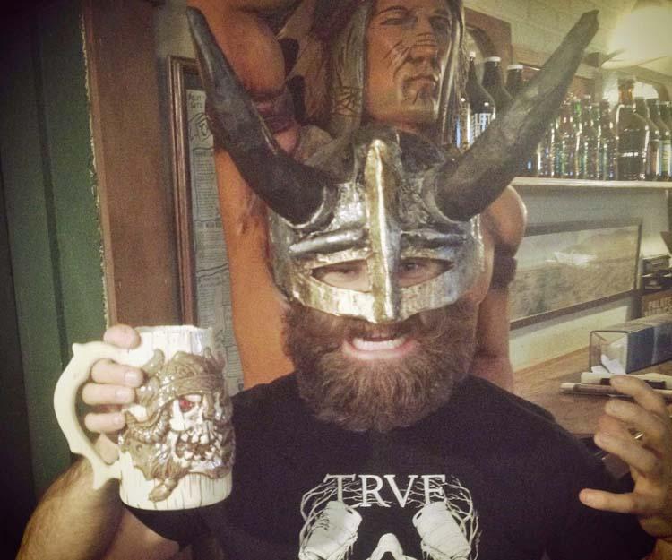Jeff Sherer's paper mache drinking helmet