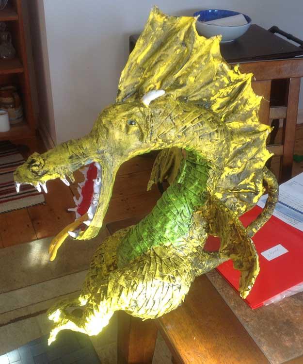 Katharine Kennedy's paper mache dragon 2