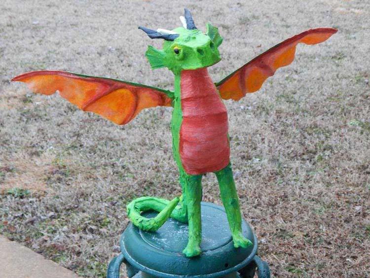 megan's paper mache dragon