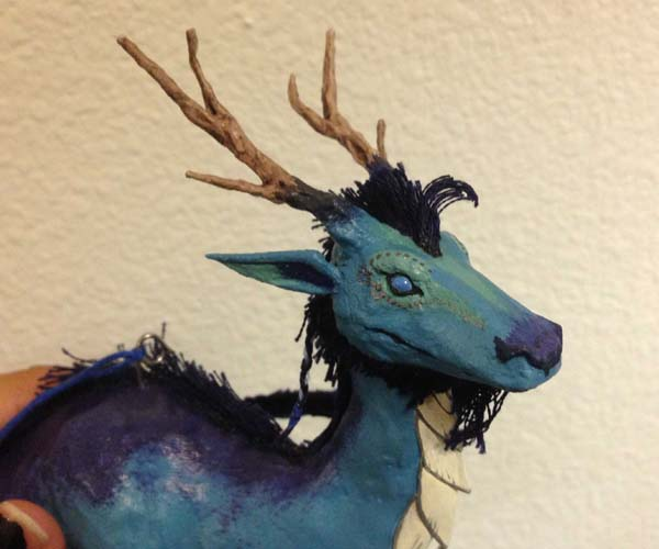 merins paper mache blue dragon head