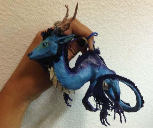 merins paper mache blue dragon