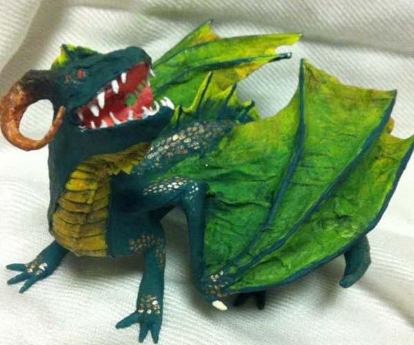 merins paper mache green dragon