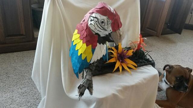 Michelle McClain's paper mache parrot