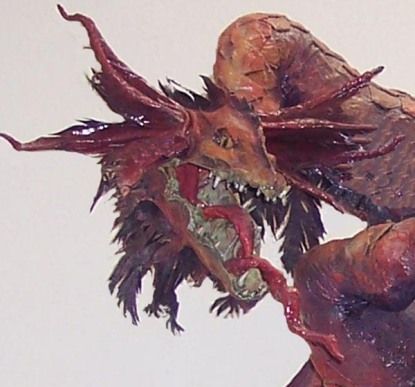 paper mache dragon close up