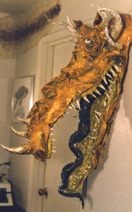paper mache dragon head