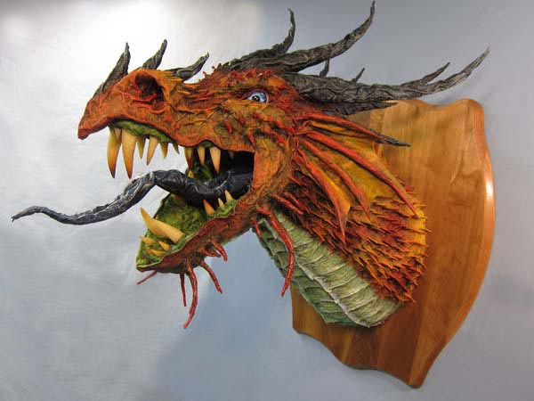 Paper mache dragon trophy-red