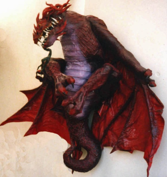 paper mache red dragon
