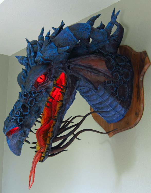 Paper mache son of Maleficent-eyes on