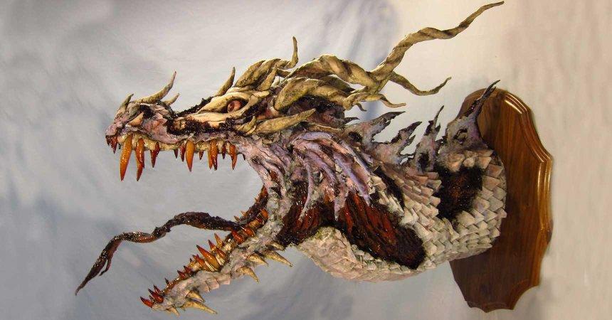paper mache zombie dragon -slider