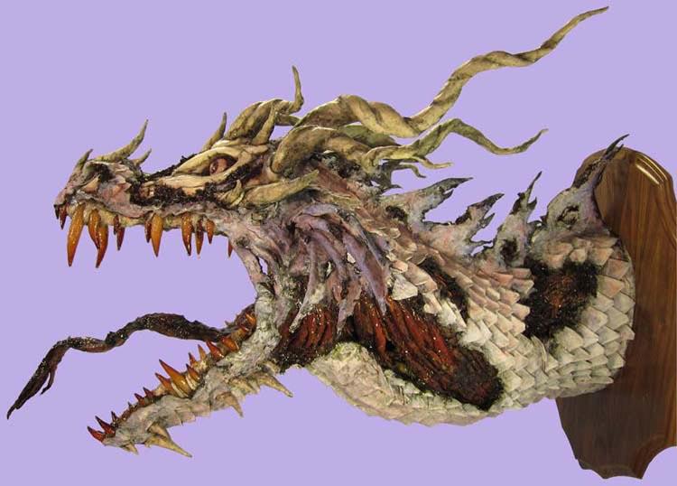 paper mache Zombie Dragon-