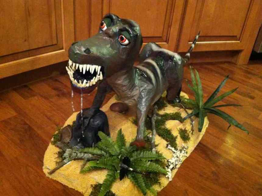 Riley's (with Jenna's help) paper mache Allosaurus