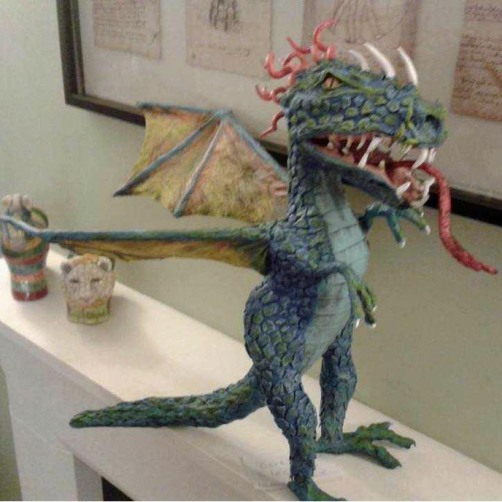 steve's newest paper mache dragon