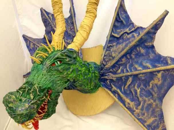 Student's paper mache dragon trophy from Kathy Nelson's art class
