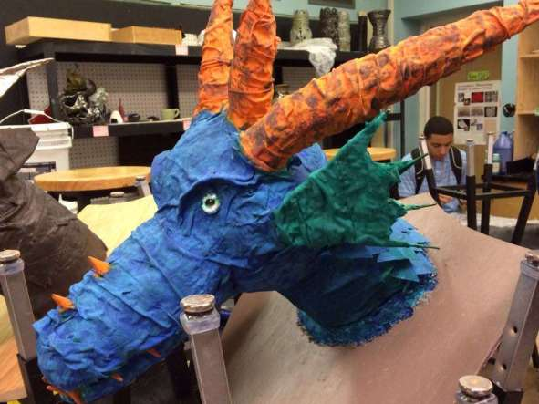 Student's paper mache dragon trophy from Kathy Nelson's art class3