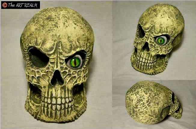 Aaron Stewart's paper mache skull