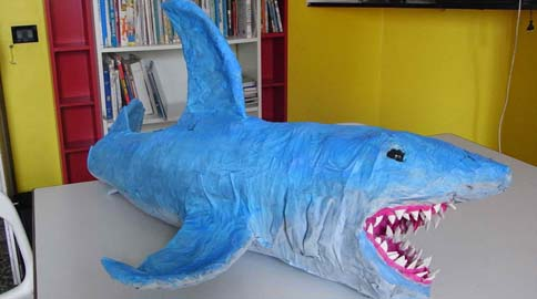 Andrea De Luca's paper mache shark