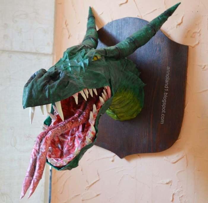 Anna's paper mache dragon trophy