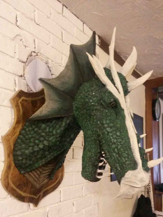 Ashley's paper mache dragon trophy