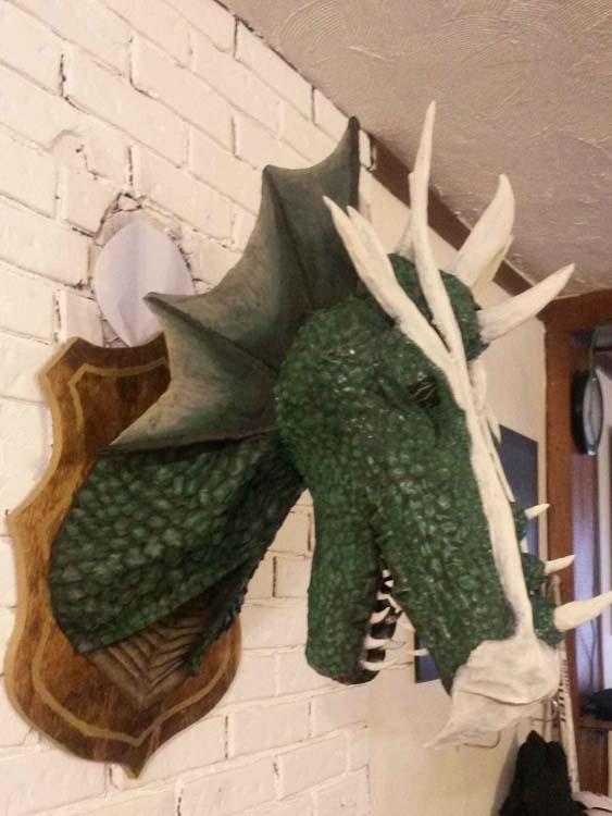 Ashley's paper mache dragon trophy