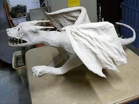 Bridget's paper mache gargoyle