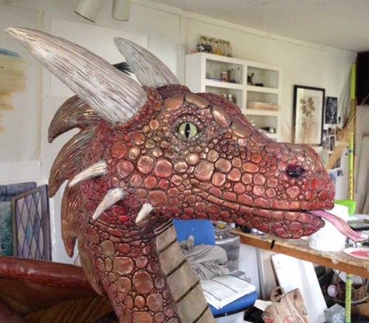 Dede Lifgren's paper mache dragon