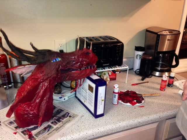 Elena's paper mache dragon trophy