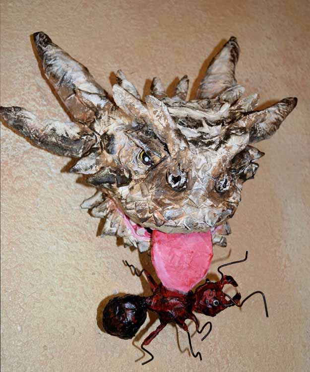 Kel's paper mache Horny Toad1