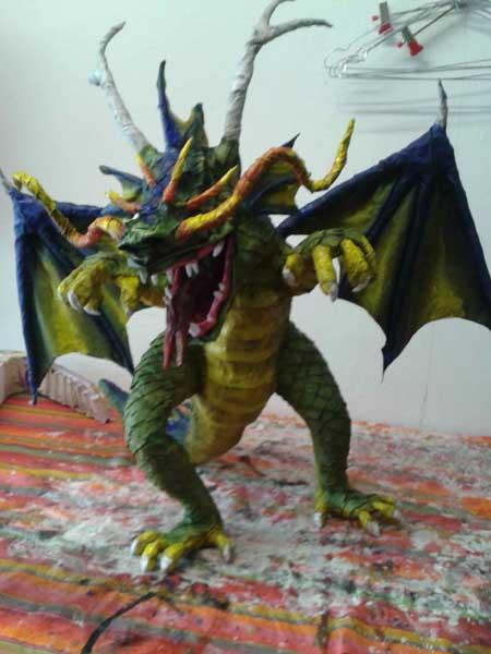 Luca Nesler's paper mache dragon