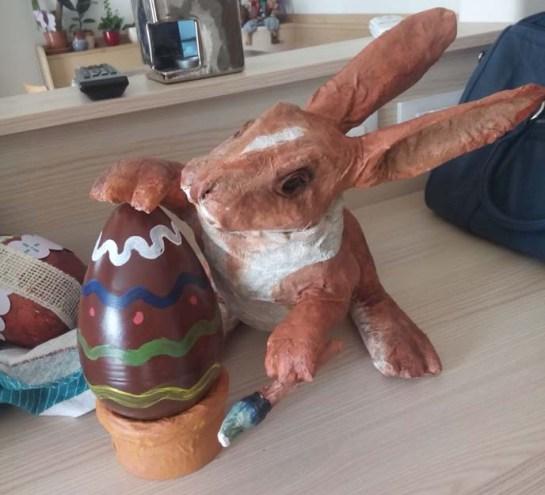 Luca's paper mache rabbit