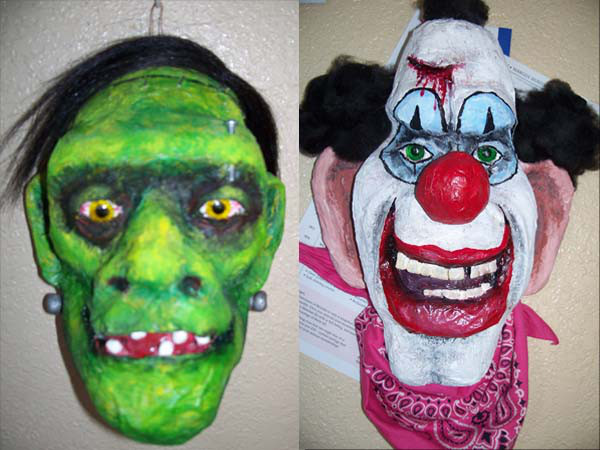 Margot's paper mache Franky and Clown