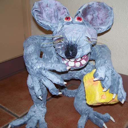 "Margot's paper mache ""Mr Rat"""