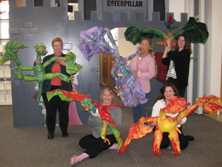 Bunch of librarian's paper mache dragons