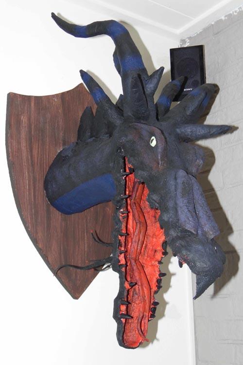 Miranda's paper mache dragon trophy