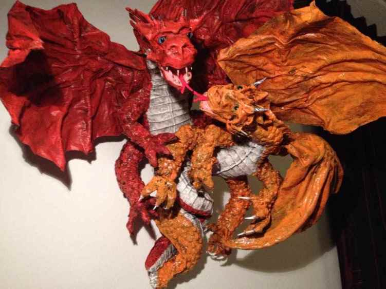 Miriam's paper mache double dragons