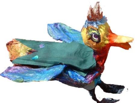 Chrissy's paper mache bird marionette