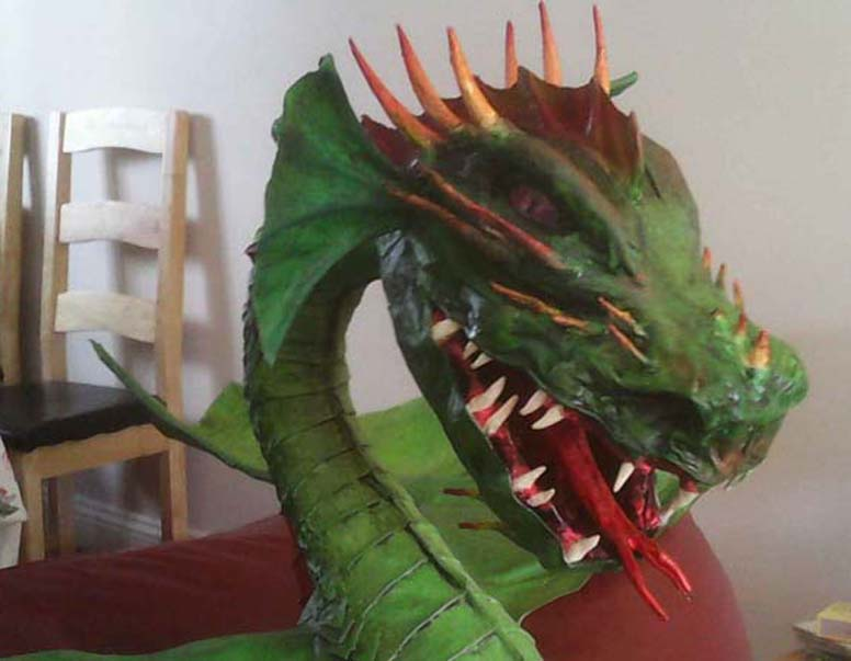 Paul Langwade's paper mache dragon-close up