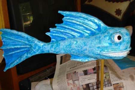 Randolph's paper mache blue fish