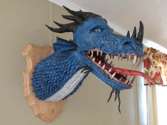 Steven Lewis' paper mache dragon trophy