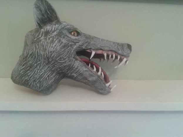 steves paper mache dire wolf
