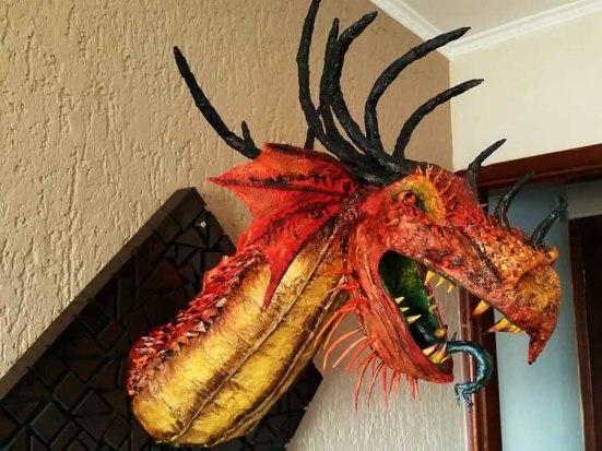 Vinicius' paper mache dragon trophy